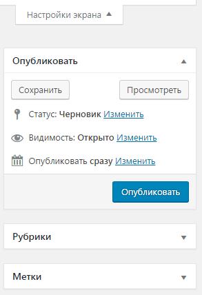 правый сайдбар на странице Добавить запись в админ панели WordPress