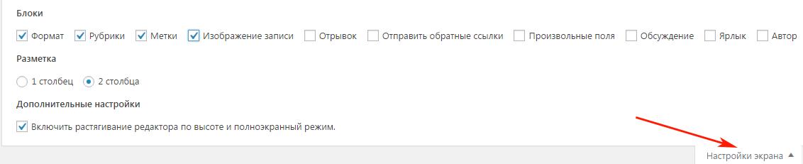 Настройка экрана на странице Добавить запись в админ панели WordPress